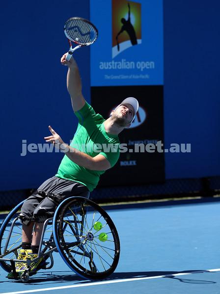 Australian Open 2013. Qtr finals, mens wheelchair.  Adam Kellerman (AUS) lost to Stefan Olsson (SWE) 6-4 6-3.  Olsson, Photo: Peter Haskin