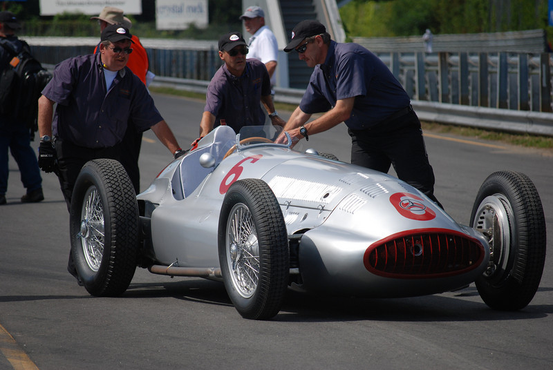 The Mercedes-Benz W154 Silver Arrow GP car on the track.