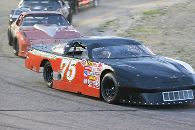Opening night for Hiway 92 Raceway Park and the Limited Late Models were bumper-to-bumper at the start of their race.  #75 Tommy Cullan.