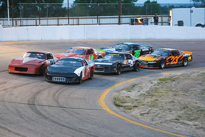Opening night for Hiway 92 Raceway Park and the Limited Late Models were bumper-to-bumper at the start of their race.