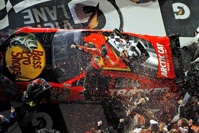 Jamie McMurray celebrates after winning the NASCAR Daytona 500 auto race Sunday, Feb. 14, 2010, at Daytona International Speedway in Daytona Beach, Fla. (AP Photo/J Pat Carter)