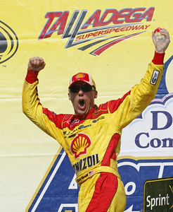 Kevin Harvick celebrates in victory lane after winning the NASCAR Sprint Cup Series Aaron's 499 auto race at Talladega Superspeedway in Talladega, Ala., Sunday, April 25, 2010. (AP Photo/John Bazemore)