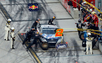 Scott Speed makes a pit stop during the NASCAR Sprint Cup Series' Ford 400 auto race at Homestead-Miami Speedway in Homestead, Fla., Sunday, Nov. 22, 2009. (AP Photo/J Pat Carter)
