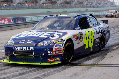 NASCAR driver Jimmie Johnson leaves the pits during the Ford 400  auto race Sunday Nov. 21, 2010 in Homestead, Fla. (AP Photo/Lynne Sladky)