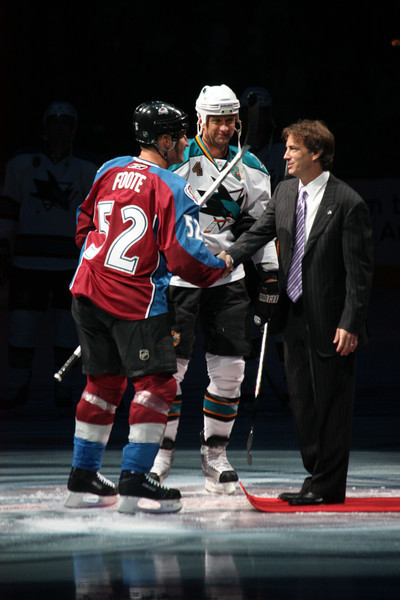 Retiring Joe Sakic's sweater. I love this shot of Joe Sakic, Adam Foote and Rob Blake. All former teammates, together again.
