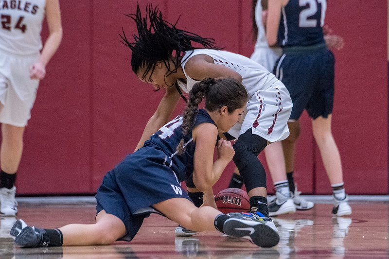 Waterford High School's Jess Olsen (14) and Layton's Danyale Thomas (20) battle for the loose ball at the Layton Christian Academy on Thursday January 26, 2017.
