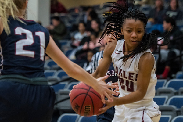 Layton Christian Academy's Danyale Thomas (20) tries to move around Lauren Knight (21) of Waterford High School in Layton on Thursday January 26, 2017.