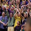 Record-Eagle/Jan-Michael Stump<br /> Traverse City West students cheer after a layup by guard Jeremiah Williams during Thursday's win over Traverse City Central.