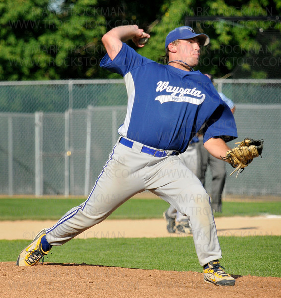 Wayzata pitcher Logan Brau throws against Academy Stars Friday, July 31 at Johnson Park in New Ulm.