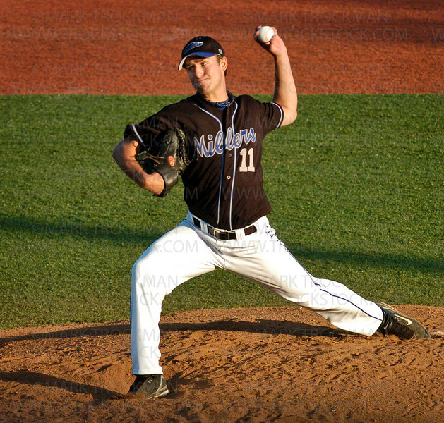 Minnetonka starting pitcher Eric Utoft allowed just one hit and struck out six, including five straight at one point, in his five-inning complete game against the Westside Bombers at Veteran's field Thursday, June 19 in Minnetonka.