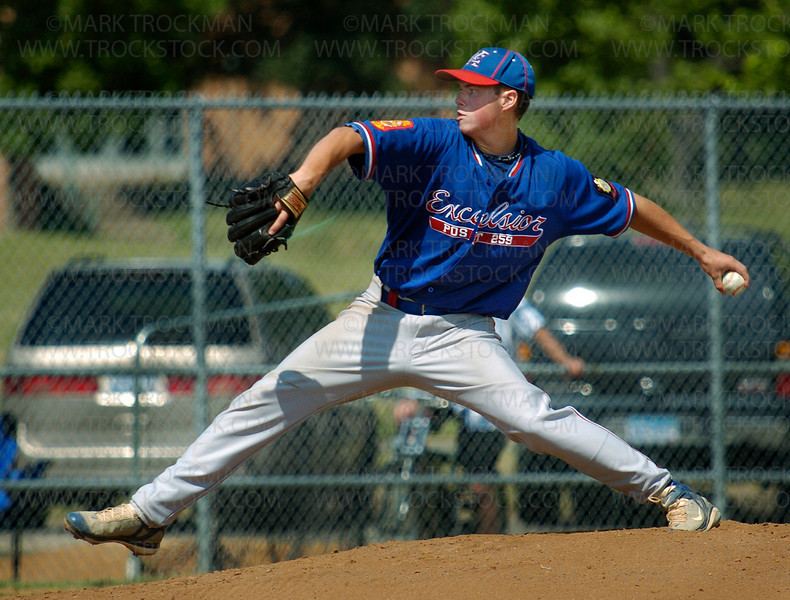 Pitcher Kyle Dahl was dominant in his complete game, allowing six hits throughout Excelsior's 1-0 win against Bloomington Tuesday, July 15 at Red Haddox Field.