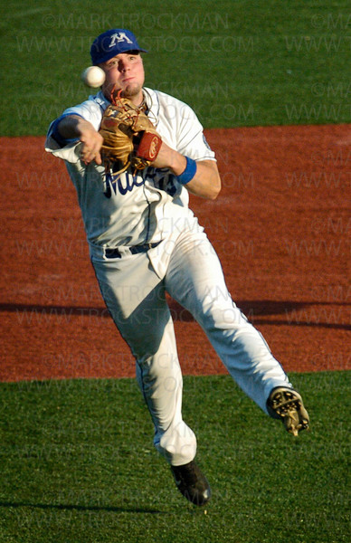 Millers third baseman Blaine Rutledge throws to first in Minnetonka's 6-3 win against the Berries Tuesday, July 1 at Veteran's Field in Minnetonka.