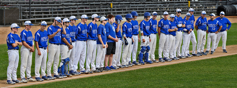 The Hopkins Royals baseball team gathers along the third-base line before the airing of the National Anthem at Midway Stadium in St. Paul Friday, June 15, 2012.  Hopkins and Eden Prairie went head to head in their state 3A quarterfinal matchup, but Eden Prairie blanked the Royals 4-0, and moved up to a semifinal game against Bemidji H.S. that evening.