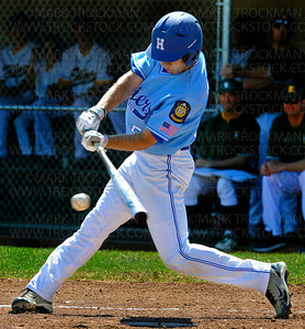 Hopkins hitter Jack Cherry singles in the first inning against Edina during their District 10 American Legion Tournament game Sunday, July 29, at Red Haddox Field in Bloomington.  Hopkins lost to Edina 7-3.