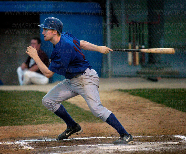 Hopkins shortstop Mike DesLauriers hits a single in the 3rd inning against Bloomington  Thursday, June 26 at Big Willow Park in Minnetonka.  The Berries defeated the Bandits  4-3.