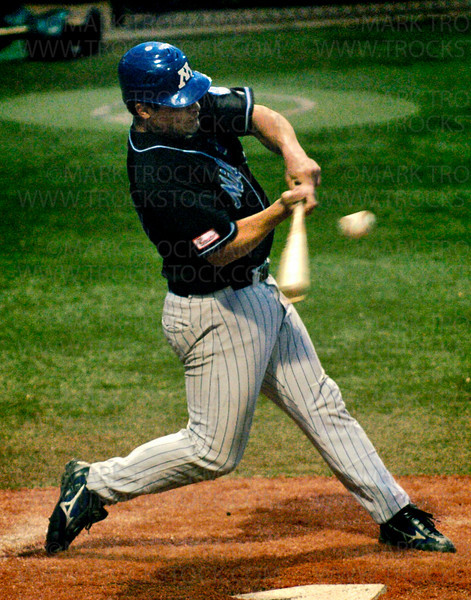 Minnetonka Millers 2nd baseman Ryan Dalum smacks the ball for double in the sixth inning Tuesday, June 10 at Veteran's Field at Minnetonka High School. The Millers beat Edina 4-0.