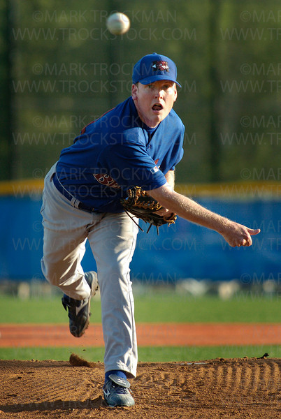 Hopkins Berries pitcher Matt McDonald in early play against Minnetonka Tuesday, July 1 at Veterans Field.  Hopkins lost to Minnetonka 6-3.