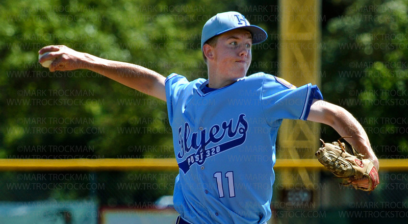 Hopkins hurler Logan Athman works through the Edina lineup during their District 10 American Legion Tournament game Sunday, July 29, at Red Haddox Field in Bloomington.  Hopkins lost to Edina 7-3.