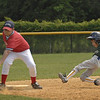Safe on 3rd. Applebee's vs Dime Savings, 8-10 year olds. June 1st, 2008. Howell Road Field. Photo by Kathy Leistner.
