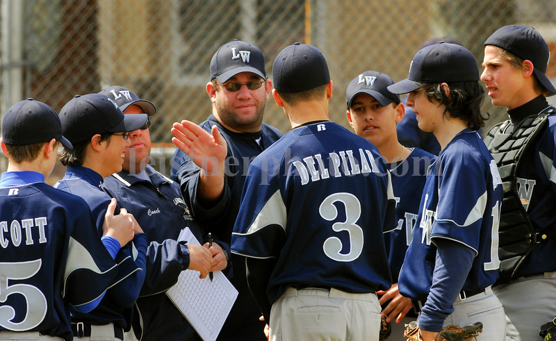 L-R #5 Scott, #2  Freeman, Head Coach  Adam Pischell, Assistant Coach  Eric Maltz, #3 Sam Del Pilar, #10 Shoenfield, #4 Rosen, and #18, Freeman (catcher) . LWA. April 14th, 2007. Photo by Kathy Leistner