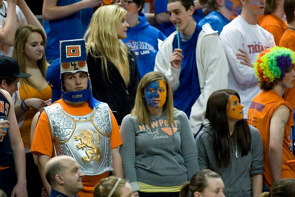 Record-Eagle/Jan-Michael Stump<br /> Central Lake fans watch as Adrian Lenawee Christian pulls away late in the state Class D semifinals Thursday at the Bresling Student Events Center in East Lansing.