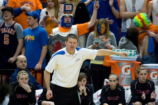Record-Eagle/Jan-Michael Stump<br /> Central Lake coach Al Becker directs his players against Adrian Lenawee Christian in the state Class D semifinals Thursday at the Bresling Student Events Center in East Lansing.