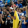 Record-Eagle/Jan-Michael Stump<br /> Adrian Lenawee Christian fans cheer during Thursday's win over Central Lake in the state Class D semifinals Thursday at the Bresling Student Events Center in East Lansing.
