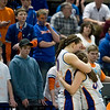 Record-Eagle/Jan-Michael Stump<br /> Central Lake's Jasmine Hines (40) and Sheila Crouse (33) share a hug after both fouled out in Thursday's loss to Adrian Lenawee Christian in the state Class D semifinals at the Bresling Student Events Center in East Lansing.