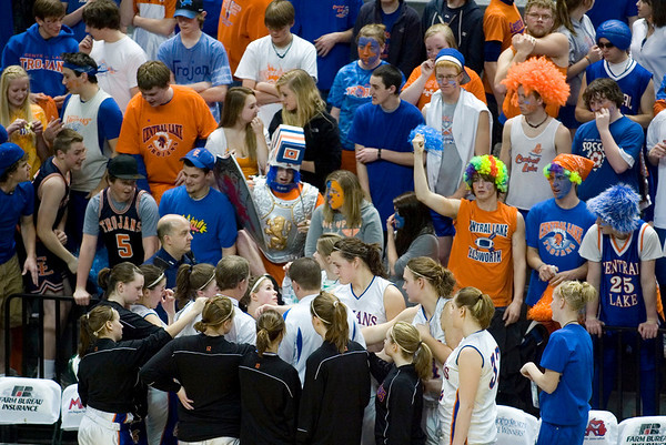 Record-Eagle/Jan-Michael Stump<br /> Central Lake players huddle around coach Al Becker during a timeout in Thursday's game against Adrian Lenawee Christian in the state Class D semifinals at the Bresling Student Events Center in East Lansing.