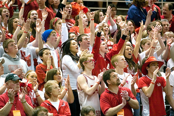 Record-Eagle/Jan-Michael Stump<br /> Suttons Bay fans cheer for the Norsemen as they face Melvindale ABT in the Class C state championship game Saturday at the Breslin Center in East Lansing.