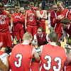 Record-Eagle/Jan-Michael Stump<br /> Suttons Bay coach Todd Hursey talks to his players during a timeout against Melvindale ABT in the Class C state championship game Saturday at the Breslin Center in East Lansing.