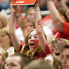 Record-Eagle/Jan-Michael Stump<br /> Suttons Bay fans cheer during Thursday's win over Bridgman in the state semifinal game at the Breslin Center in East Lansing.