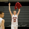 Record-Eagle/Jan-Michael Stump<br /> Suttons Bay's Nicolas Cross (20) looks back to the Norsemen's fans after their 52-38 win over Bridgman in the state semifinal game Thursday at the Breslin Center in East Lansing.