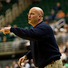 Record-Eagle/Jan-Michael Stump<br /> Bridgman coach Mike Miller directs his players against Suttons Bay in the state semifinal game Thursday at the Breslin Center in East Lansing.