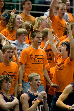 Record-Eagle/Jan-Michael Stump<br /> Bridgman fans cheer during Thursday's game against Suttons Bay in the state semifinal game at the Breslin Center in East Lansing.