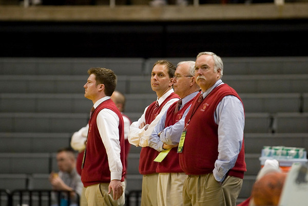 Record-Eagle/Jan-Michael Stump<br /> Suttons Bay coaches watch the Norsemen warm up before Thursday's game against Bridgman in the state semifinal game at the Breslin Center in East Lansing.