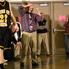 Record-Eagle/Jan-Michael Stump<br /> Traverse City Central coach Jeff Turner reacts to a turnover during Friday's game at Traverse City West