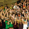 Record-Eagle/Jan-Michael Stump<br /> Traverse City West fans cheer for the Titans during Friday's game against Traverse City Central.