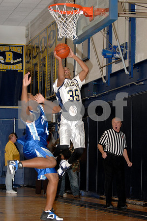#35 Matt Brown, BHS, #44 Dashaun Moye LBHS ,Long Beach HS. Baldwin HS vs Long Beach, Boys Basketball, December 12th, 2007 at Baldwin. 85-49. Photo by Kathy Leistner