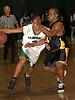 #3 Anthony Jones, Elmont and #31 Travis Sims, Uniondale. 1-17-2007. Elmont Varsity Basketball vs Uniondale. Photo by Kathy Leistner.