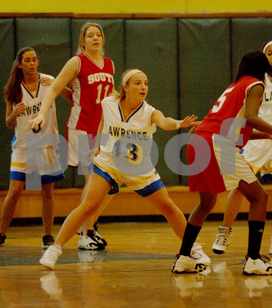 #13 Marissa Galante, LHS, #3 Katelyn Duggan, LHS.  Lawrence vs VS South. January 26th, 2007. Photo by Kathy Leistner.