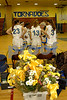 Flowers for the Seniors at their last home game.<br /> #23 Ashley Correa, #13 Marissa Galante, #3 Katelyn Duggan. Coach George Klein. Lawrence vs VS South. January 26th, 2007. Photo by Kathy Leistner.