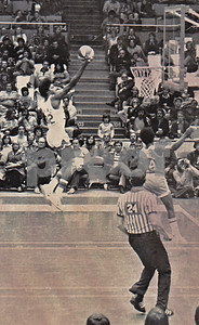 Dr J as a Net in ABA game gets UP for layin vs St Louis Spirits in Nassau Coliseum