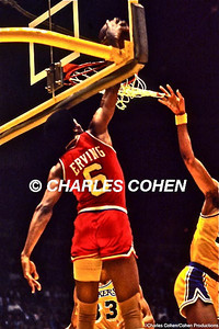 Sixers Julius Erving dunks over Abdul-Jabbar in 1983 NBA Finals at the LA Forum.