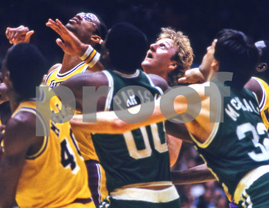 Four NBA HALL OF FAMERS jockey for rebound:  Jabbar, Parish,Bird, McHale...1984 NBA Finals