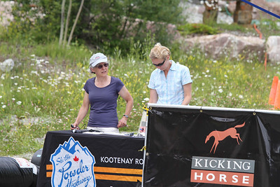 Helen Martindale and Pam Macdougall; finish line/timing