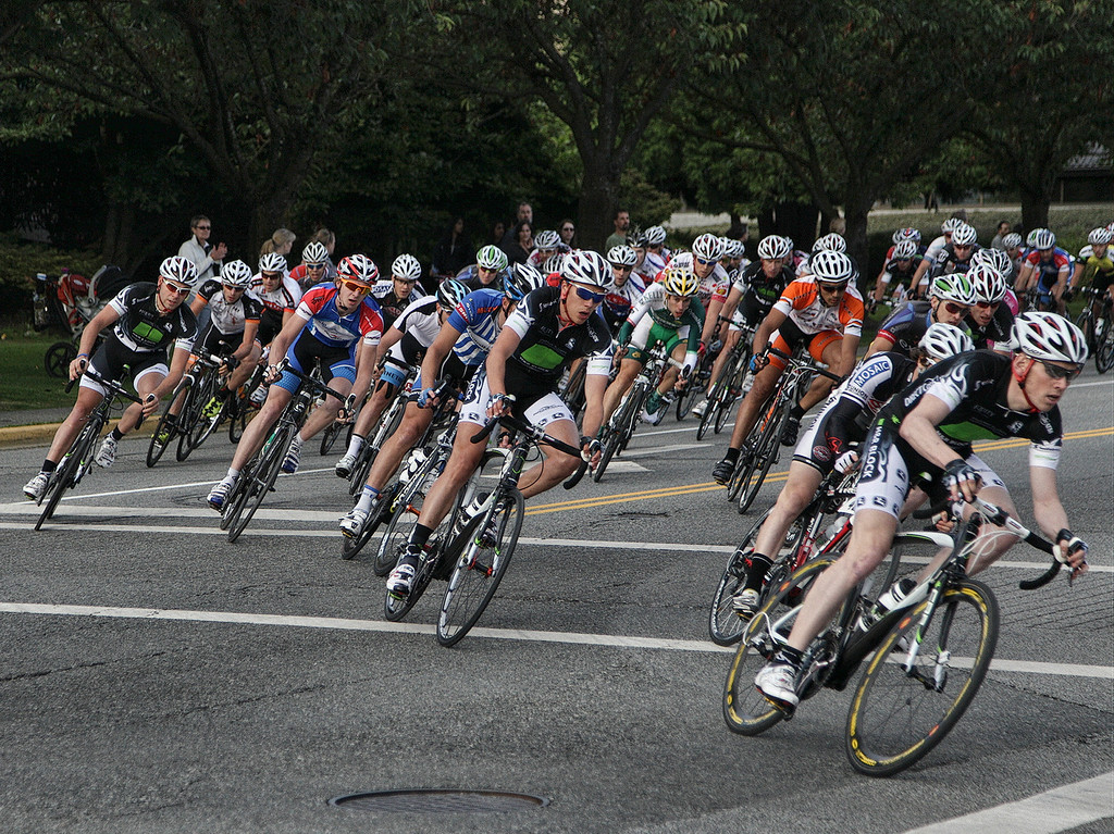 Men's Criterium race at Tour de Delta. The pack heads into turn # 1. July 2011