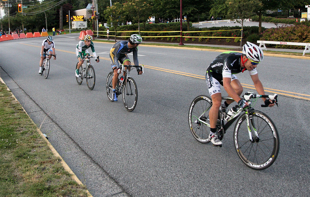 Tour de Delta Crit leaders after 4 laps with a 23 second lead over the pack.