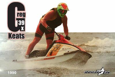 "The year 1990, the rider Greg Keats, the ski Kawaski x2, according to Rick Misita ""Built by BIG WAVE DAVE's"""