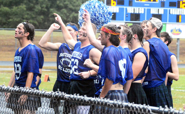 Will Fehlinger   The Herald-Tribune It was the Bulldog football team's turn to cheer during the annual powder puff game Friday at BHS.